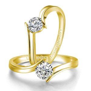 טבעת אירוסין סוליטר טוויסט
