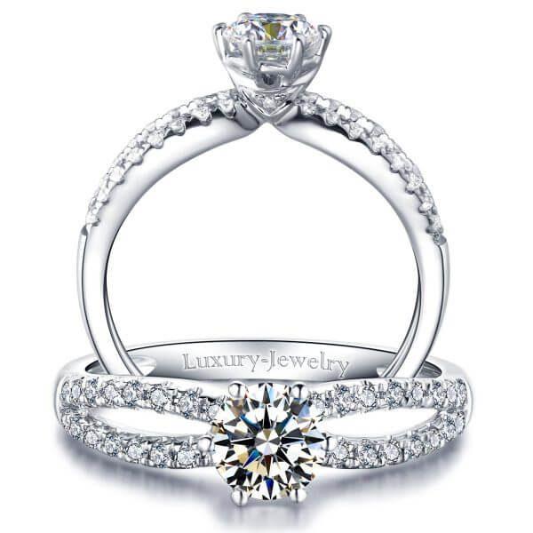 טבעת אירוסין אינגייג'מנט זהב לבן