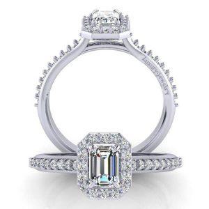 טבעת אירוסין אמרלד זהב לבן