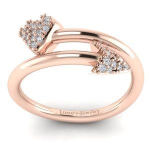 טבעת לב וחץ ורוד לקצ'ורי תכשיטים