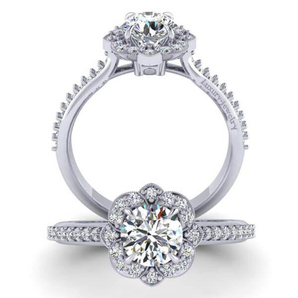 טבעת אירוסין ג'ם זהב לבן