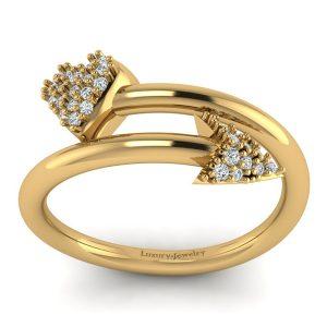 """טבעת יהלומים לב וחץ זהב צהוב 1900 ש""""ח"""
