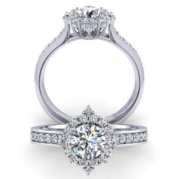 טבעת אירוסין אמנדה זהב לבן