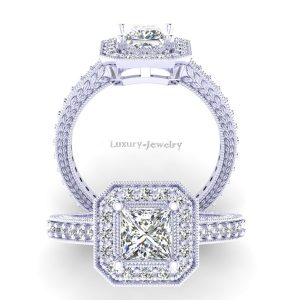 טבעת אירוסין פרינסס וינטאג' מרובע