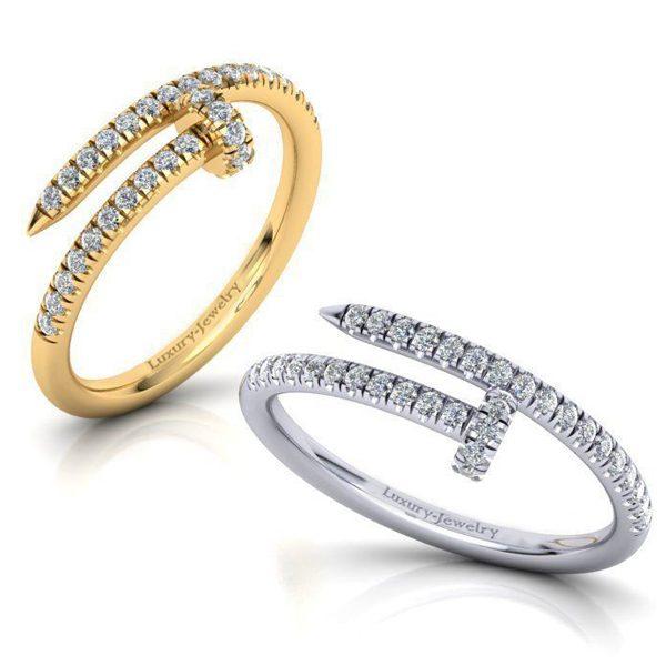 טבעת יהלומים מסמר 0.25 קראט