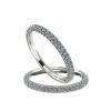 טבעת יהלומים דקה 3 שורות זהב לבן