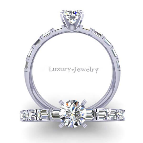 טבעת אירוסין בגטים זהב לבן