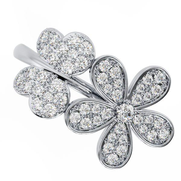 טבעת יהלומים טרופי זהב לבן