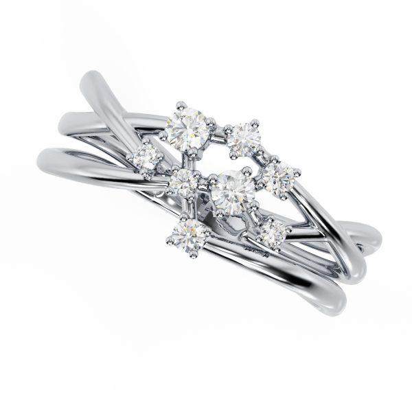 טבעת יהלומים קשתות זהב לבן