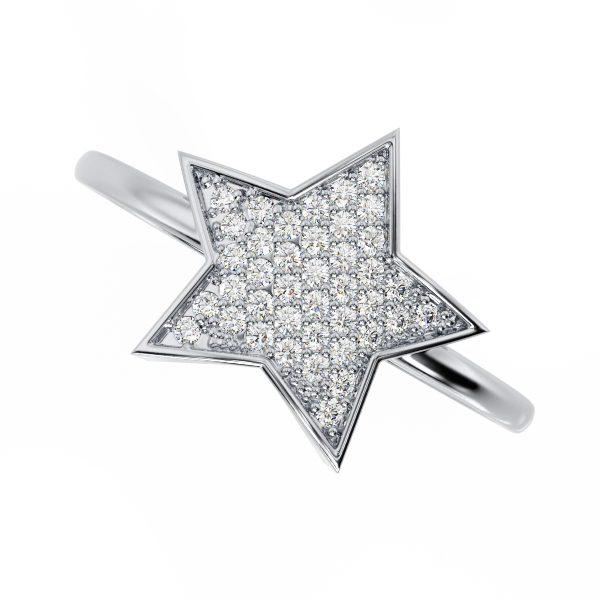 טבעת יהלומים כוכב זהב לבן