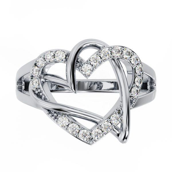 טבעת יהלומים לבבות זהב לבן
