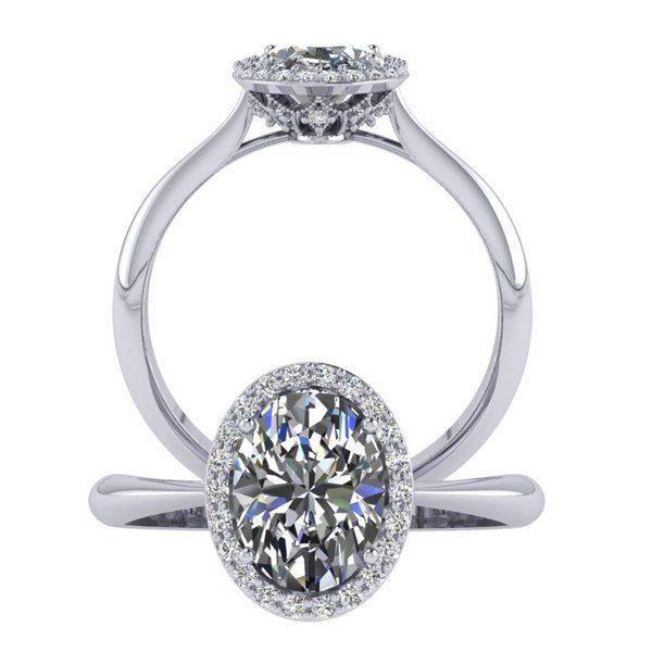 טבעת אירוסין אובל וינטאג' זהב לבן
