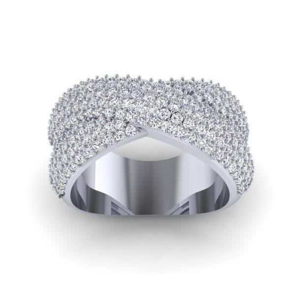 טבעת יהלומים פפיון זהב לבן