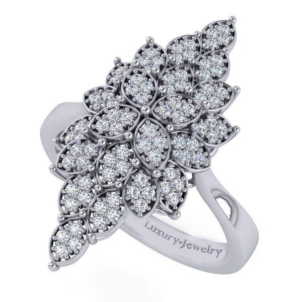 טבעת יהלומים מרקיז זהב לבן