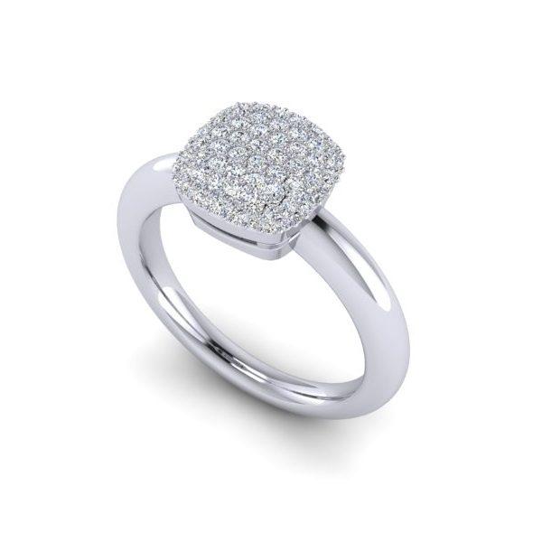 טבעת יהלומים מרובע פווה זהב לבן