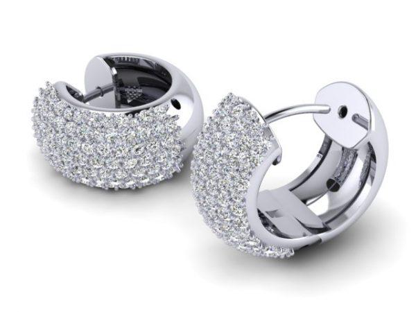 עגילי יהלומים חישוק 03 זהב לבן