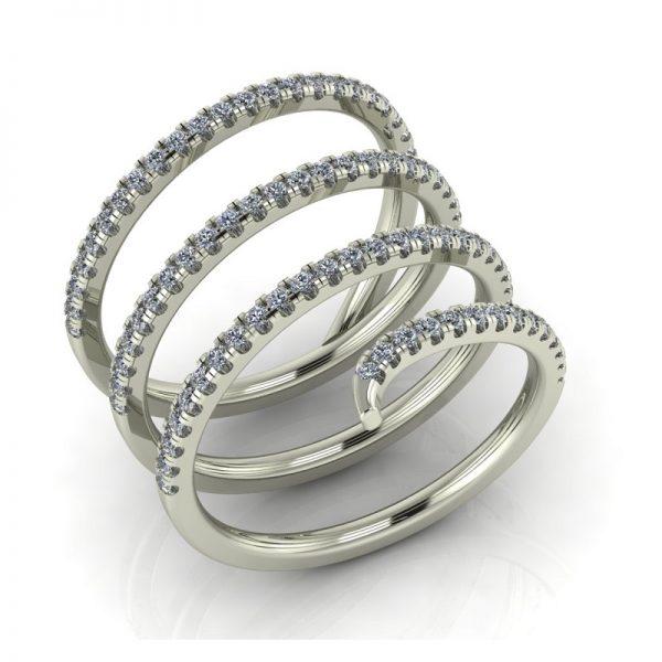 טבעת יהלומים מסולסלת זהב לבן