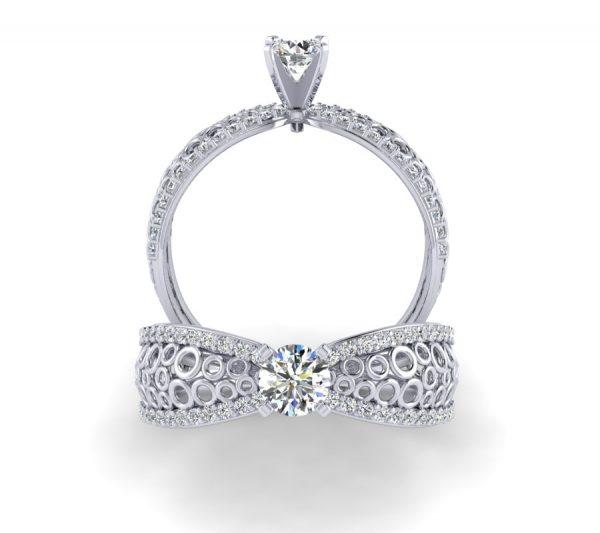 טבעת אירוסין אושן זהב לבן
