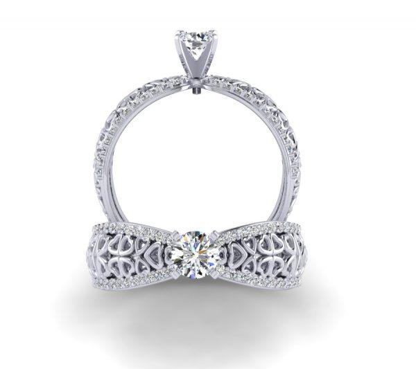 טבעת אירוסין הארטס זהב לבן