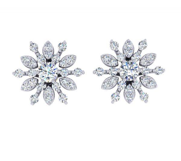 עגילי יהלומים צמודים בר לקצ'ורי תכשיטים