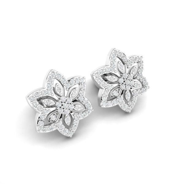 עגילי יהלומים צמודים סטאר