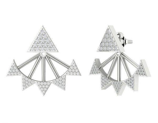 עגילי יהלומים משולשות