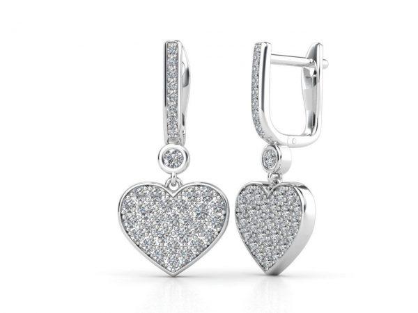 עגילי יהלומים לבבות
