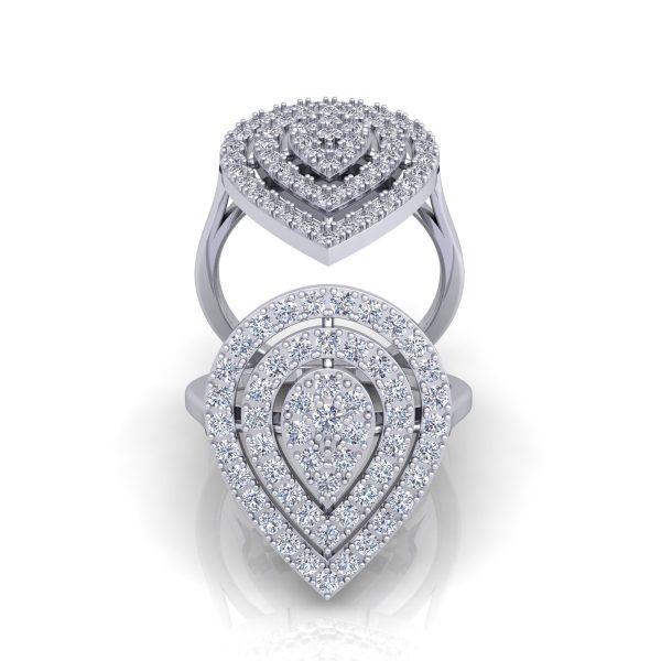 טבעת יהלומים טיפה המשלבת 1 קראט יהלומים