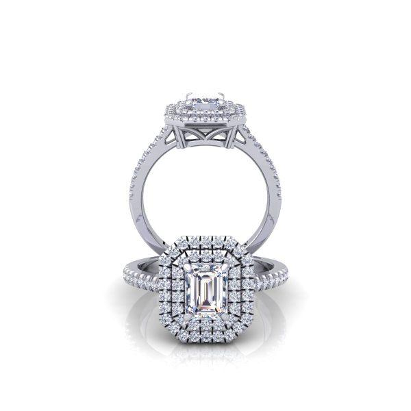 טבעת אירוסין דאבל היילו אמרלד
